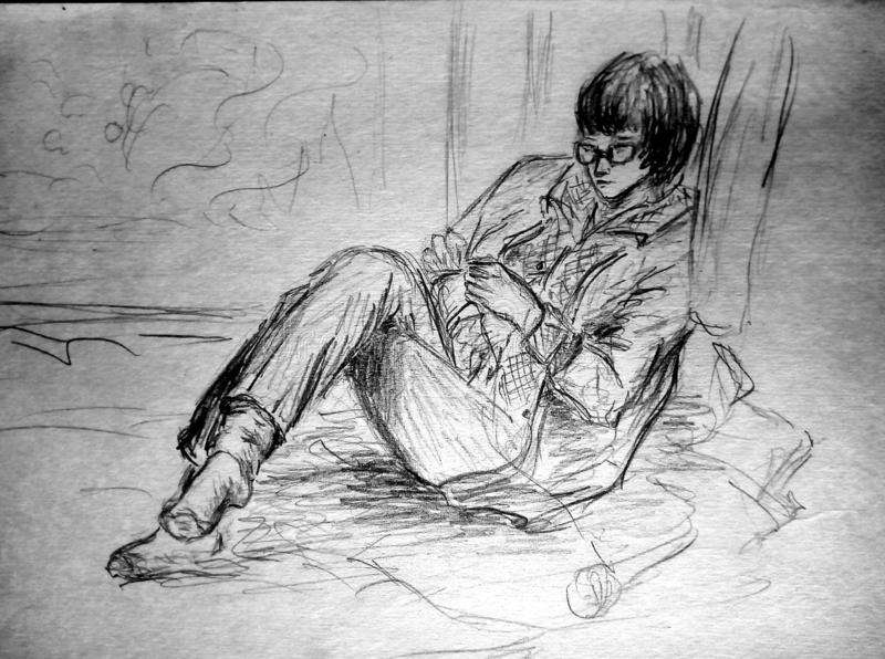 A rough sketch of a female figure in clothes. The girl with glasses sits on the couch with crossed legs and knits. Pencil drawing. A rough sketch of a female stock images