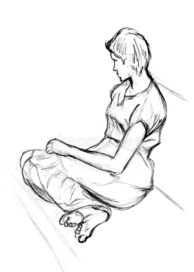 A rough sketch of a female figure in clothes. The girl sits with her legs on the couch, turning away from the viewer. Pencil drawing on white paper royalty free stock photo