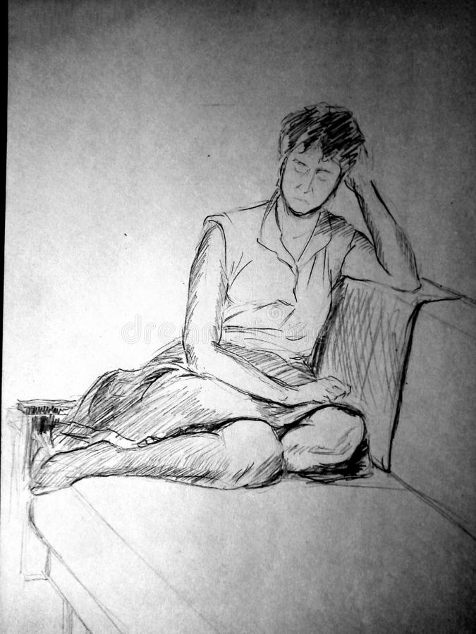 A rough sketch of a female figure in clothes. The girl is sitting on the couch with her legs crossed. Pencil drawing. A rough sketch of a female figure in stock images