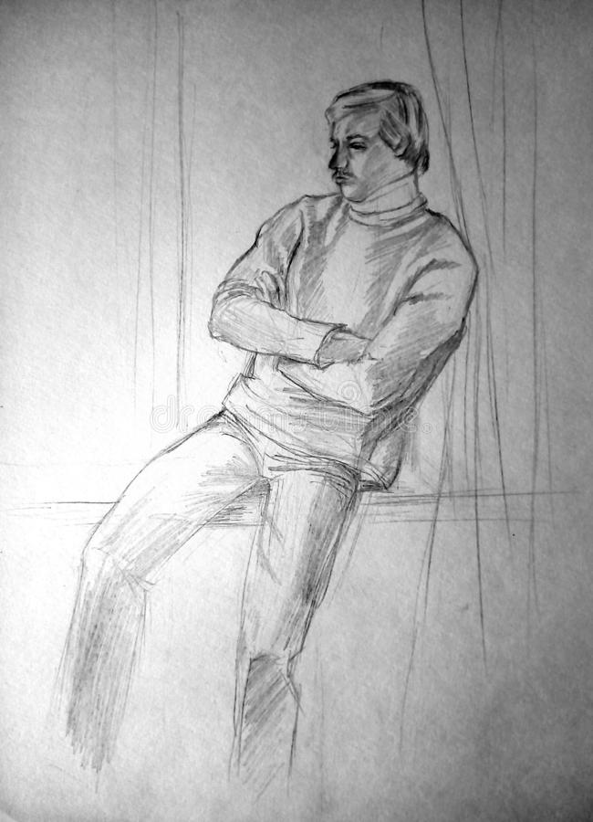 A rough sketch of a person sitting on the windowsill. Lead pencil. A rough sketch of a person sitting on the windowsill. Lead pencil on white paper stock image