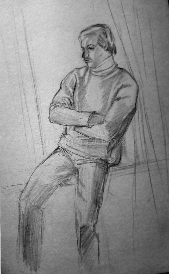 A rough sketch of a person sitting on the windowsill. Lead pencil on white paper stock images