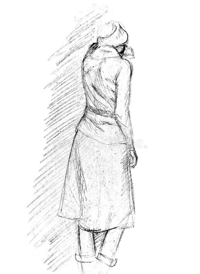 A rough sketch of a standing young woman in clothes. Back to the viewer. She rested her hand on the wall. A rough sketch of a standing young woman in clothes royalty free stock image