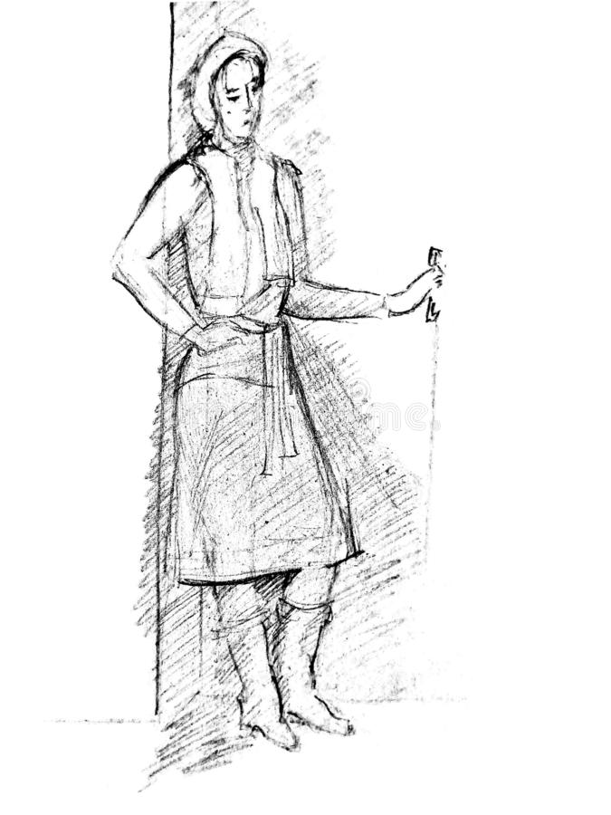 A rough sketch of a standing young woman in clothes. The girl leaned back against the wall and with one hand clings to the door. A rough sketch of a standing royalty free stock photography
