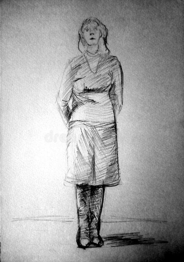 A rough sketch of a standing young woman in clothes with hands behind her back. Pencil drawing. A rough sketch of a standing young woman in clothes with hands stock photography