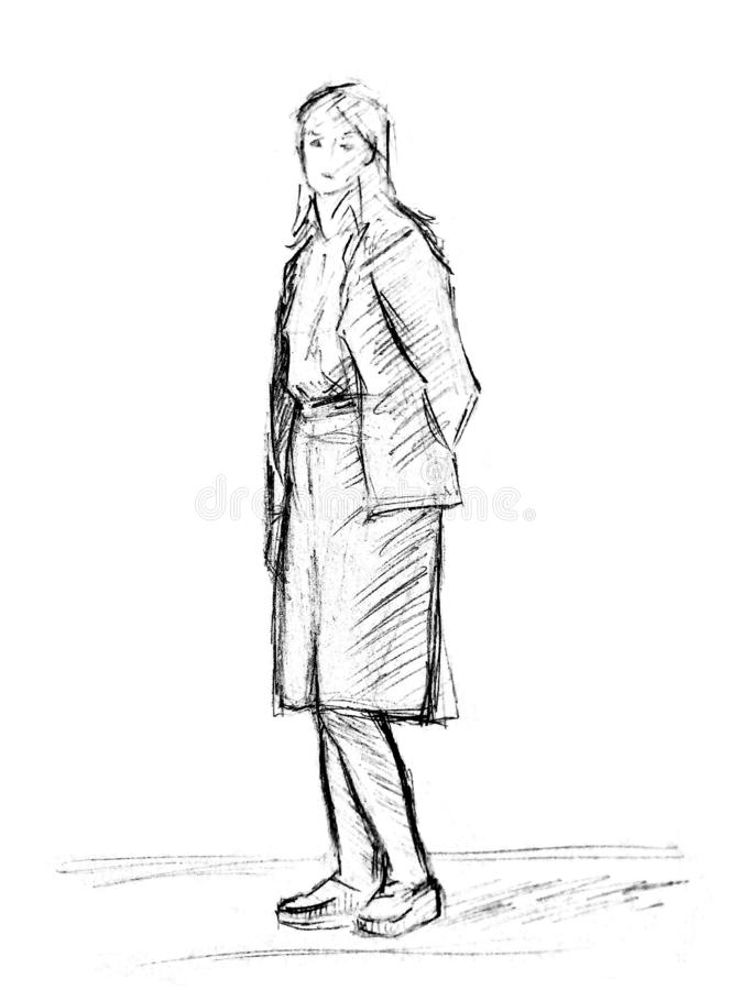A rough sketch of a standing young woman in clothes with hands behind her back. Pencil drawing on white paper stock images