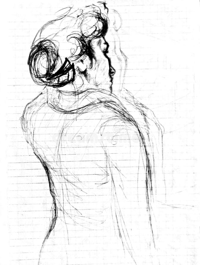 A rough sketch of a standing young woman in clothes with her back to the viewer. Drawing with a ballpoint pen on checkered paper stock photo