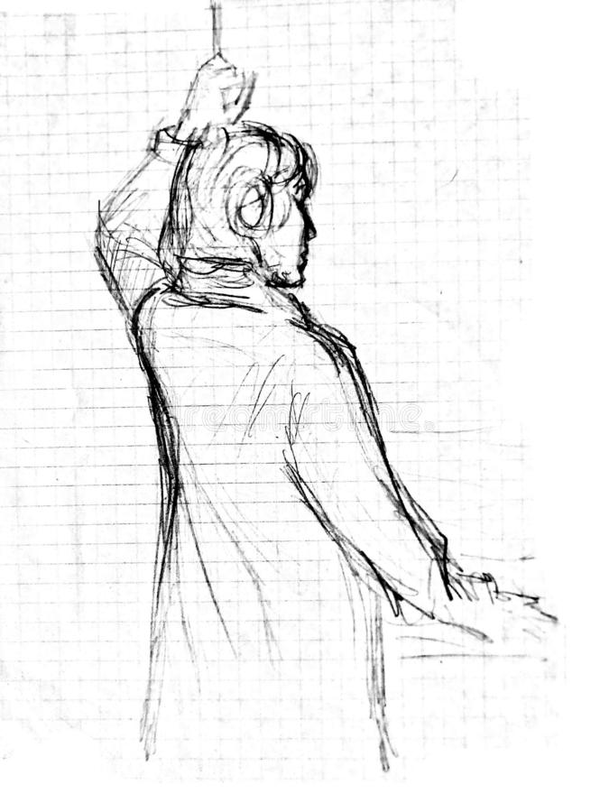A rough sketch of a standing young woman in clothes with her back to the viewer. Drawing with a ballpoint pen. A rough sketch of a standing young woman in stock photo