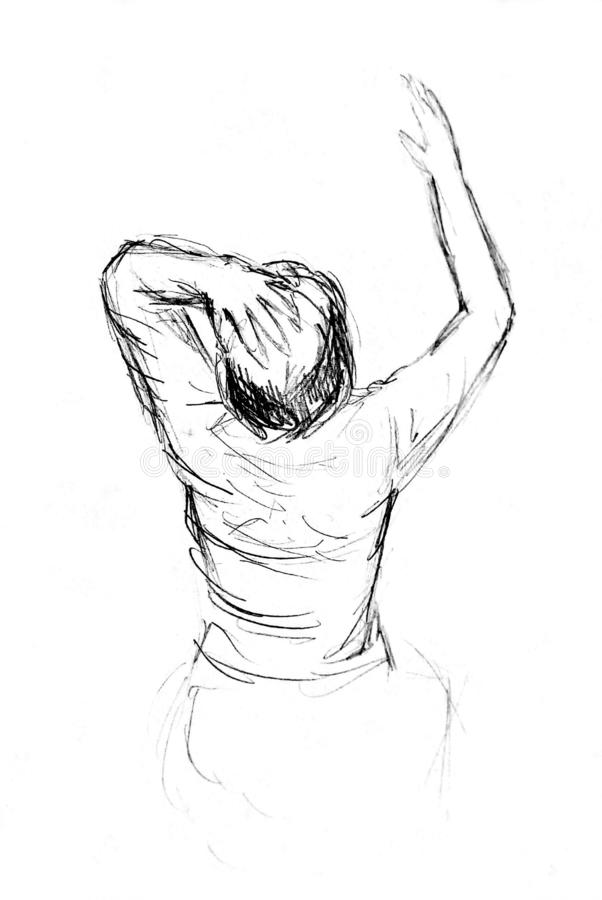 A rough sketch of a woman in clothes. View from the back and top. One hand on the head, the other raised. Pencil drawing on white paper royalty free stock photos