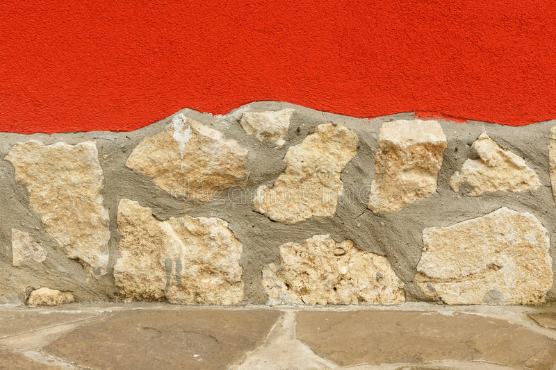 Rough Structured Mortar Combined With Stone Wall And Floor Stock ...