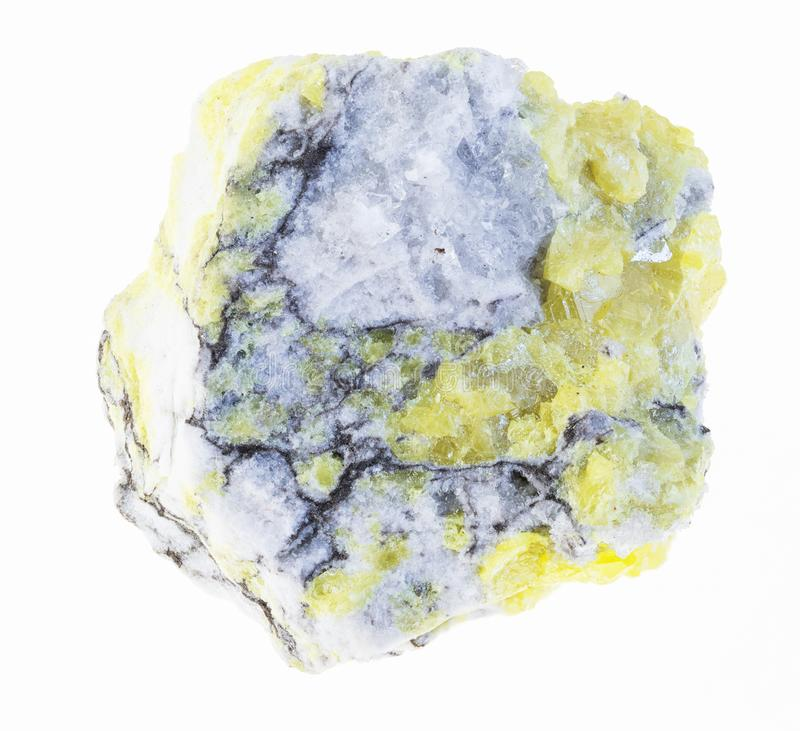 Rough sulfur (sulphur) ore on white. Macro photography of natural mineral from geological collection - rough sulfur (sulphur) ore on white background royalty free stock image