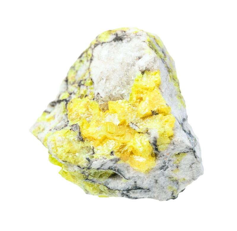 Rough Sulphur (Sulfur) ore isolated on white. Closeup of sample of natural mineral from geological collection - rough Sulphur (Sulfur) ore isolated on white stock photography