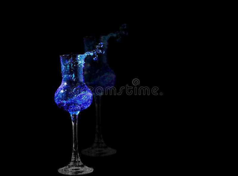 Rough water in grapa glas stock photography