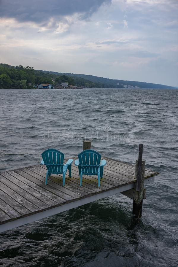 Rough waters as a storm comes in over Seneca Lake at Watkins Glen, NY royalty free stock photo