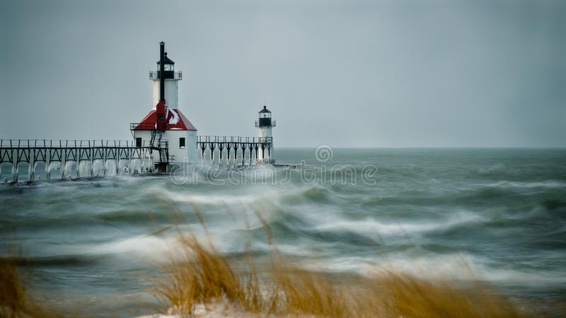 Rough Winter Water Michigan Light Houses stock photo