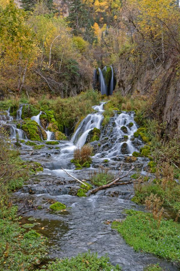 Roughlock Falls, in Spearfish canyon. South Dakota low speed royalty free stock image