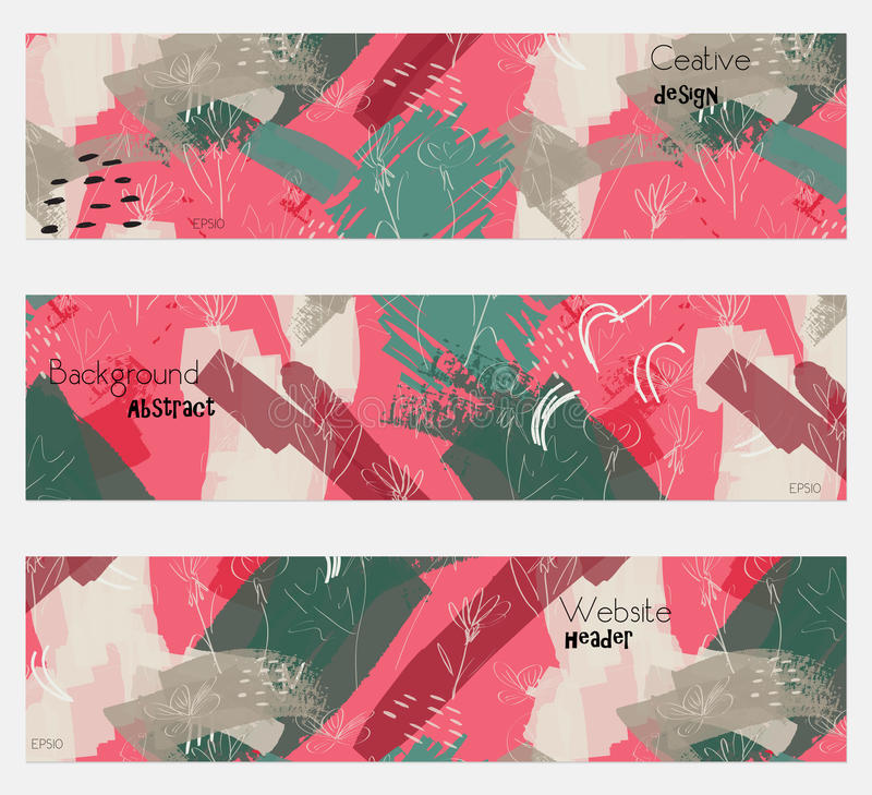 Roughly drawn dandelion flower pink green banner set royalty free illustration