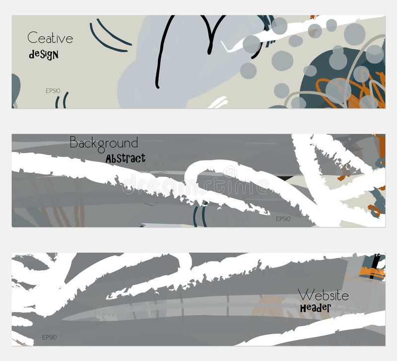 Roughly drawn floral elements gray banner set stock illustration