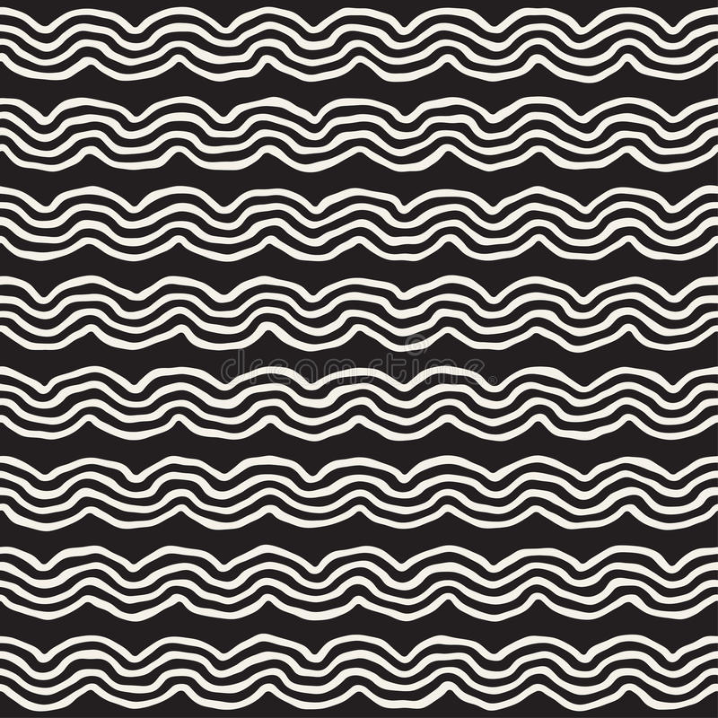Roughly Drawn Wavy Stripes Stylish Graphic Texture. Vector Seamless Black and White Pattern vector illustration