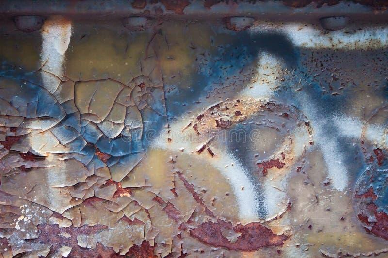 Rouille abstraite de fond, épluchant la peinture et le grafetti photos stock