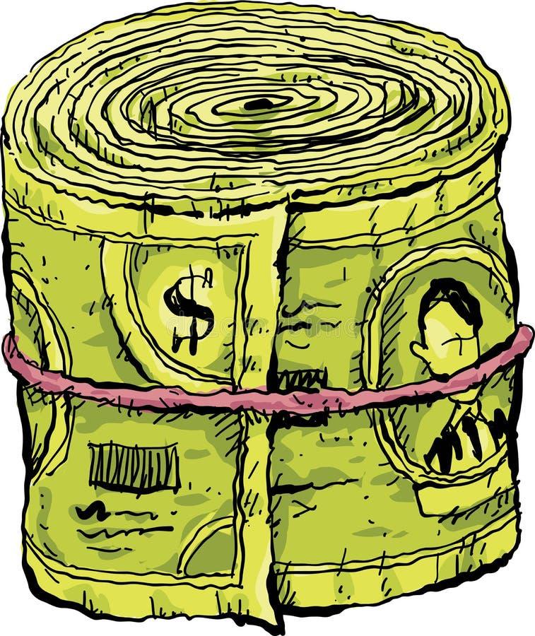 Roulé vers le haut du bouchon de l'argent liquide illustration stock