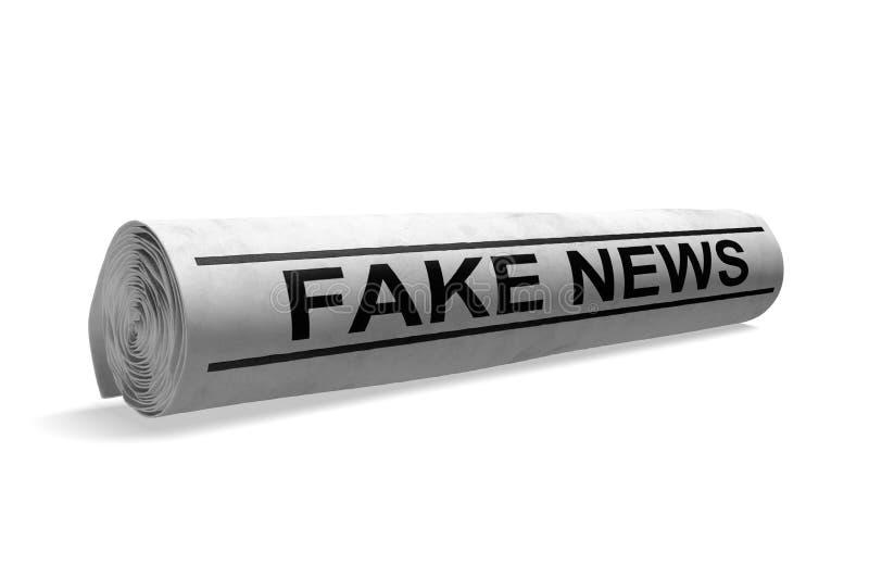Roulé vers le haut du journal avec un faux titre d'actualités pour le mauvais journalisme de media, rendu 3D illustration de vecteur