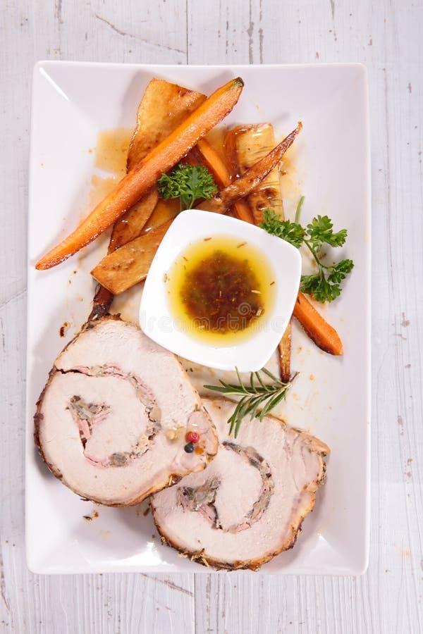 Roulade και λαχανικό κρέατος στοκ εικόνες