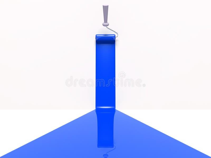rouleau 3d et piste bleue de peinture illustration de vecteur