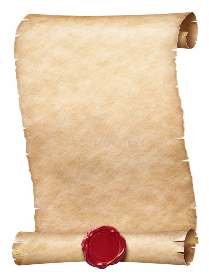 Rouleau antique de parchemin avec le joint de cire d'isolement sur le blanc illustration stock