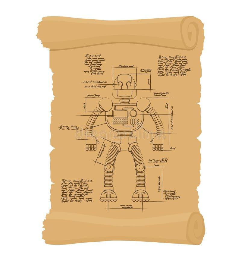 Rouleau antique de robot de dessin Rétro plan de mach technologique illustration stock
