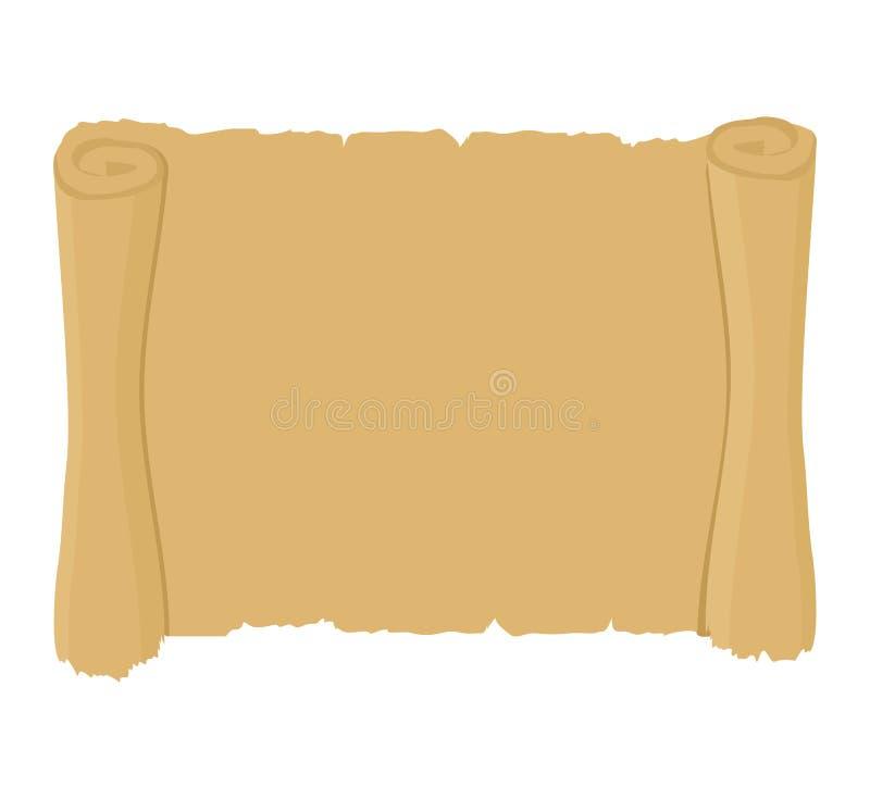 Rouleau antique propre vieux parchemin blanc Rétro document sur papier illustration stock