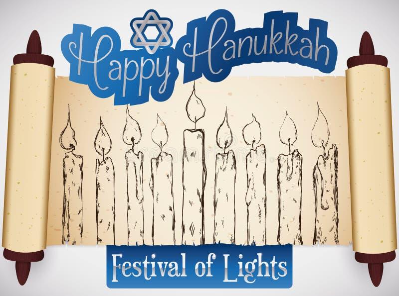 Rouleau avec les bougies tirées par la main célébrant le festival de Hanoucca des lumières, illustration de vecteur illustration stock