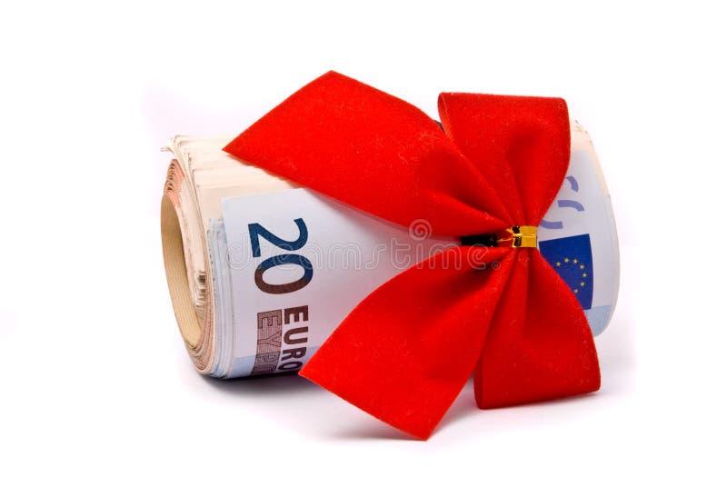 Rouleau d'euro argent et de proue rouge image libre de droits