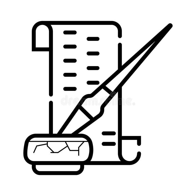 Rouleau de papier avec l'icône de stylo de plume illustration de vecteur