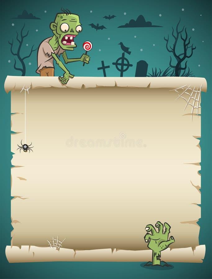 Rouleau de papier blanc de Halloween avec le fond de zombi et de chemise de nuit illustration stock