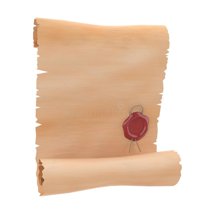 Rouleau de parchemin avec le joint rouge de cire Papier blanc illustration du rendu 3d d'isolement illustration stock