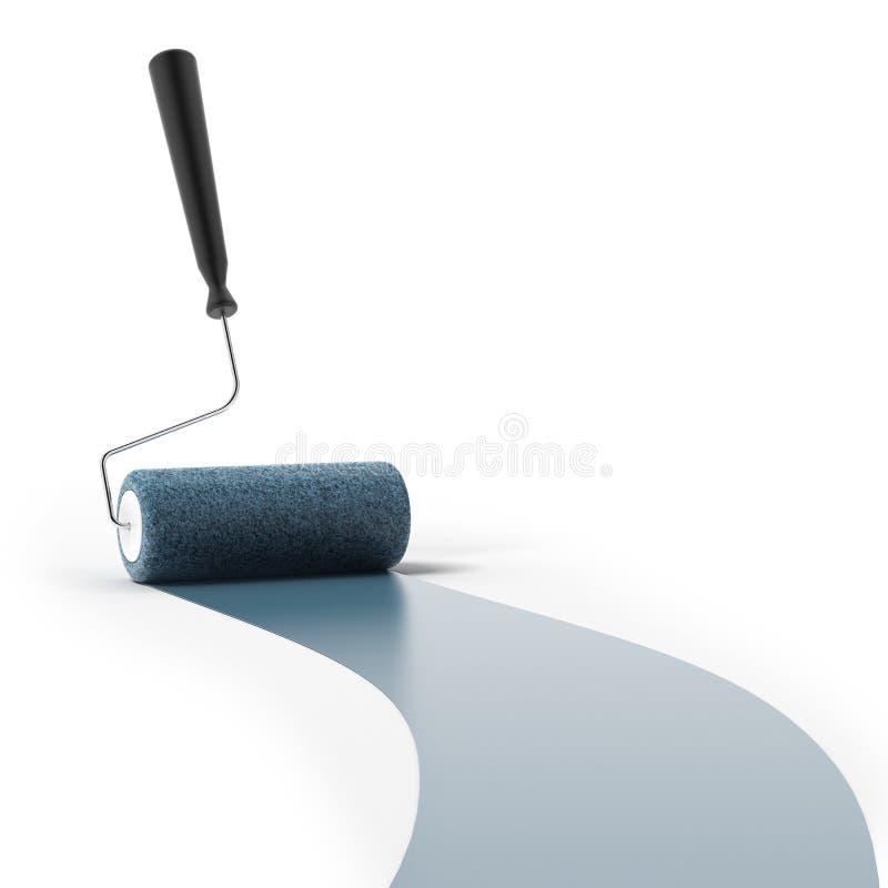 Rouleau de peinture bleu illustration libre de droits