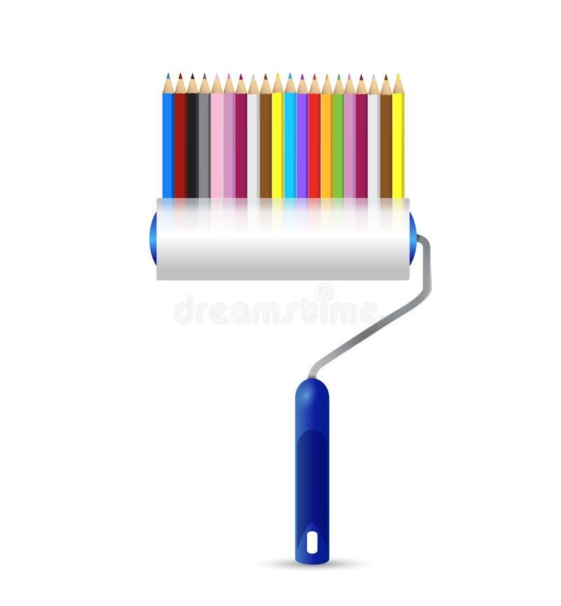 Rouleau de peinture et conception d'illustration de crayons de couleur illustration de vecteur