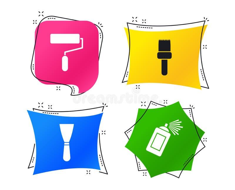Rouleau de peinture, icône de brosse Boîte et spatule de jet Vecteur illustration libre de droits