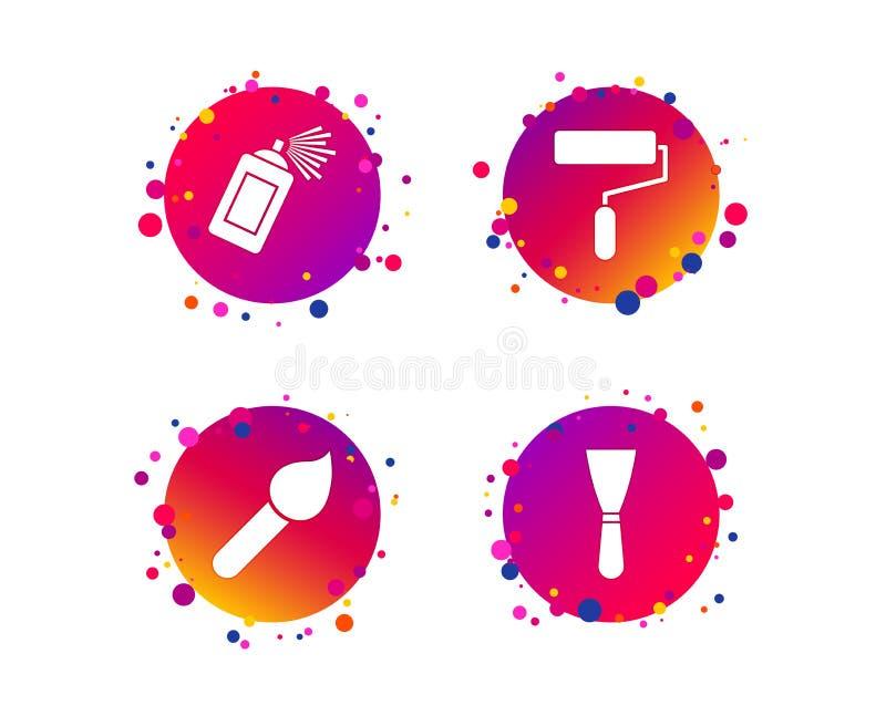 Rouleau de peinture, icône de brosse Boîte et spatule de jet Vecteur illustration de vecteur