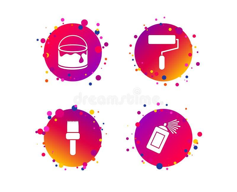 Rouleau de peinture, icône de brosse Boîte de jet et de peinture Vecteur illustration de vecteur