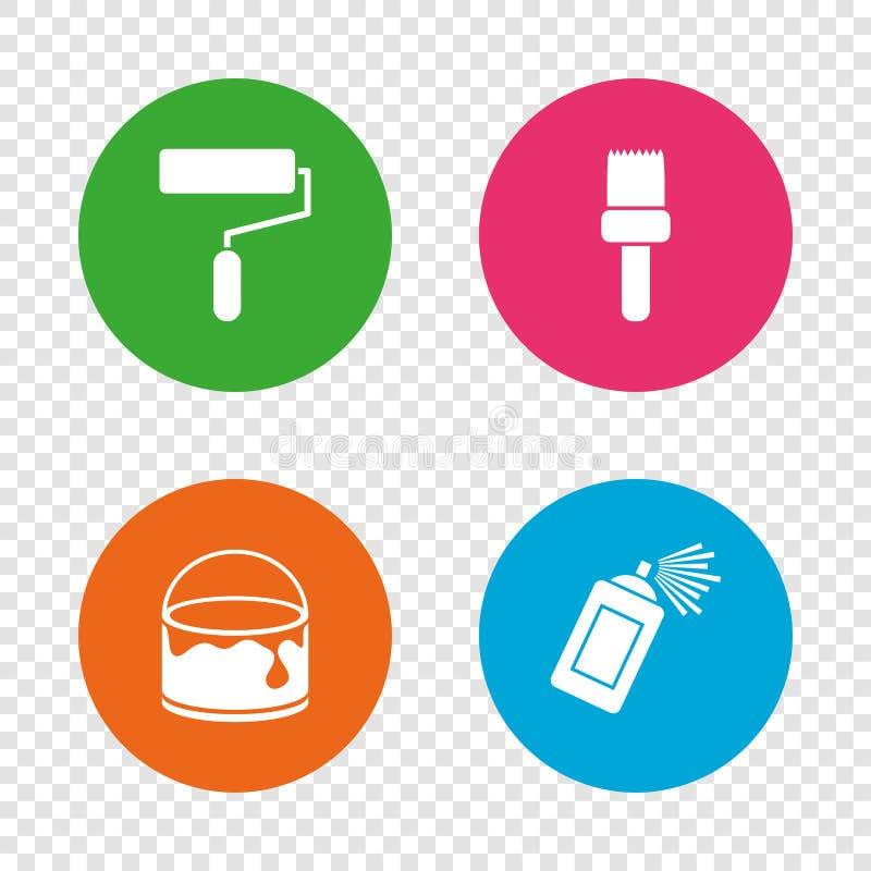 Rouleau de peinture, icône de brosse Boîte de jet et de peinture illustration libre de droits