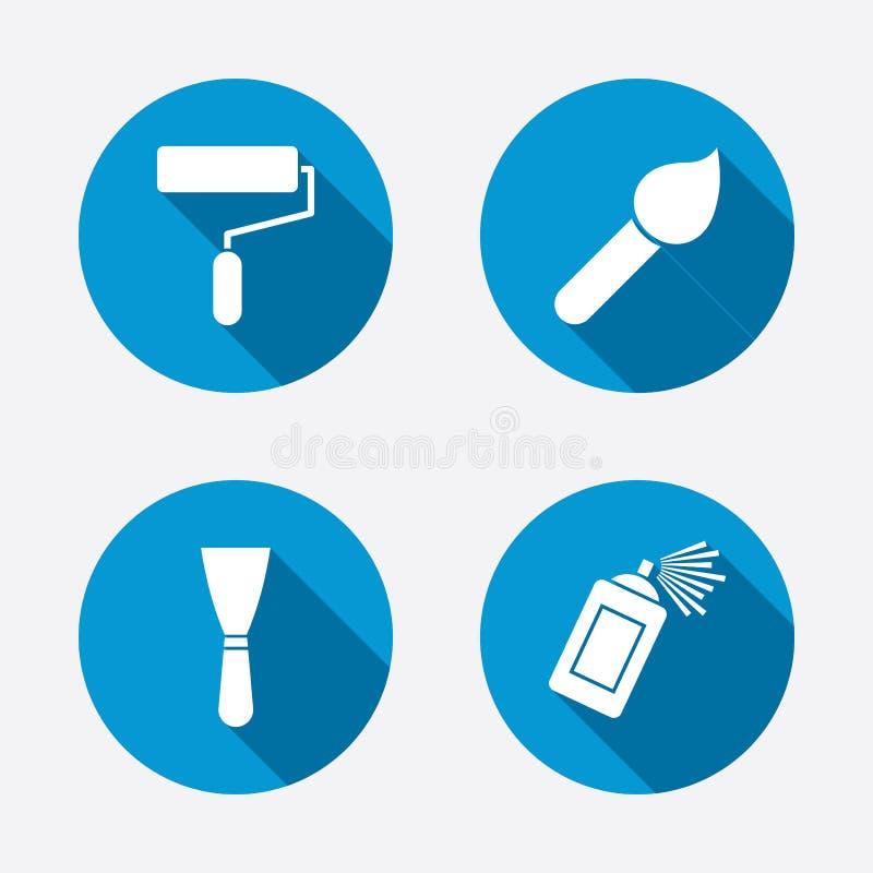 Rouleau de peinture, icône de brosse Boîte et spatule de jet illustration stock