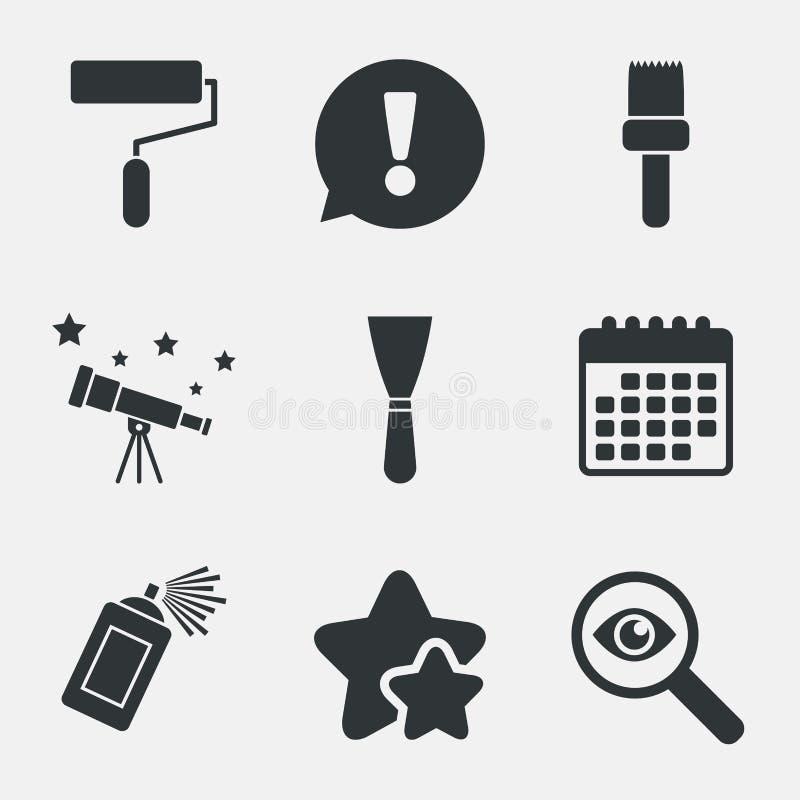 Rouleau de peinture, icône de brosse Boîte et spatule de jet illustration de vecteur