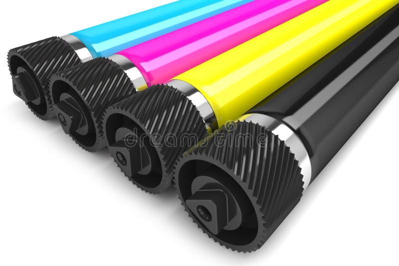 Rouleaux de l'imprimante CMYK illustration libre de droits