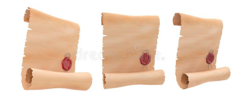 Rouleaux de parchemin avec le joint rouge de cire Ensemble de papier blanc illustration du rendu 3d illustration de vecteur