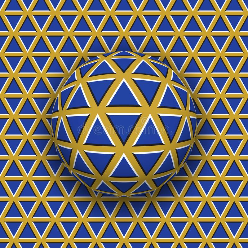 Roulement de boule le long de la surface de triangles Illustration abstraite d'illusion optique de vecteur illustration stock