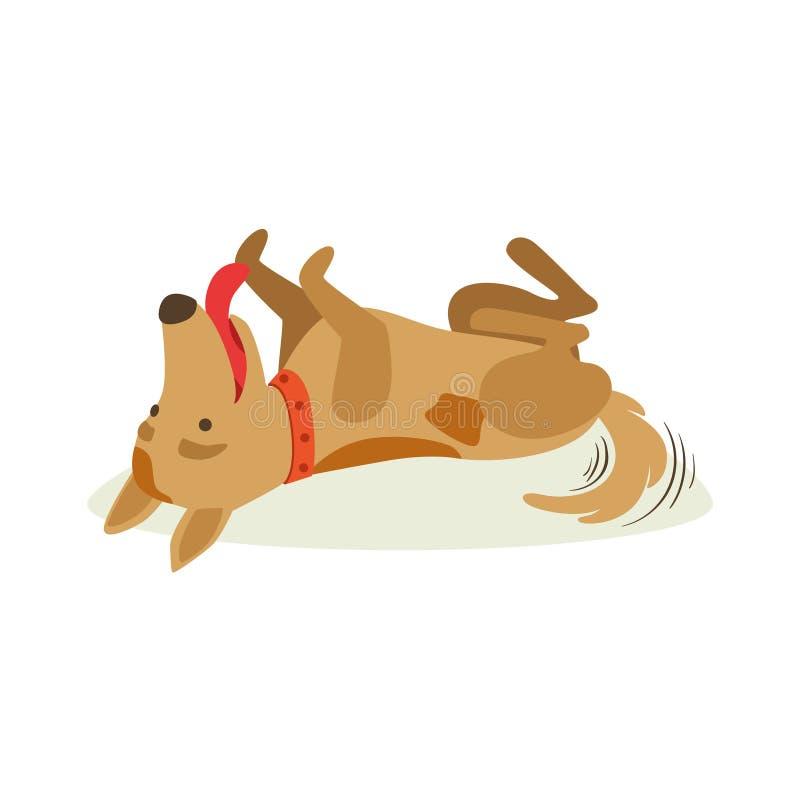 Roulement heureux de chien de Brown sur l'illustration arrière et animale de bande dessinée d'émotion illustration libre de droits