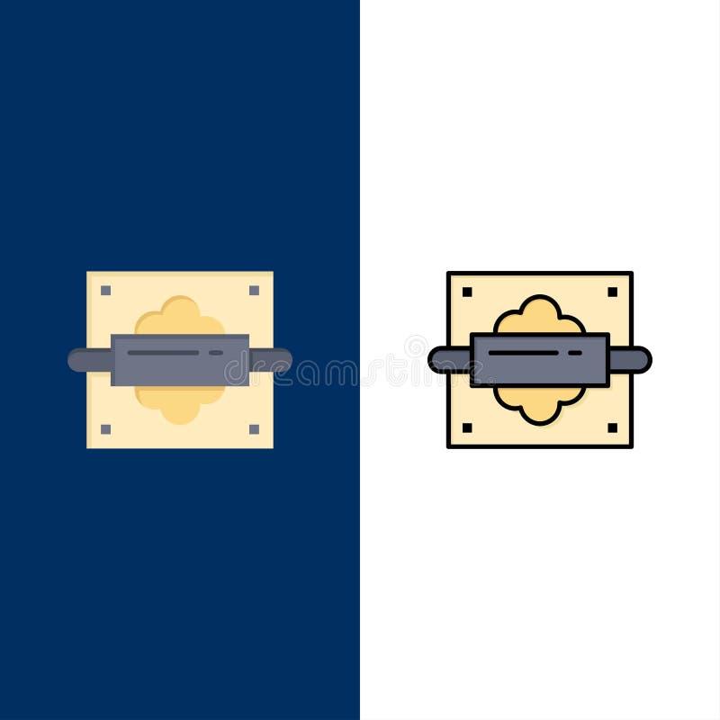 Roulement, Pin, pain, icônes de cuisine L'appartement et la ligne icône remplie ont placé le fond bleu de vecteur illustration libre de droits