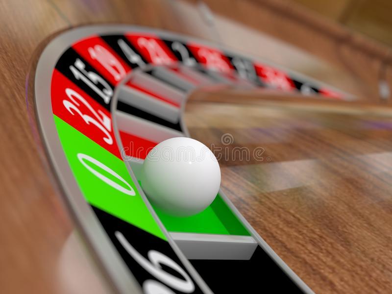 Roulette. A 3d casino roulette wheel with the ball in the green zero stock illustration
