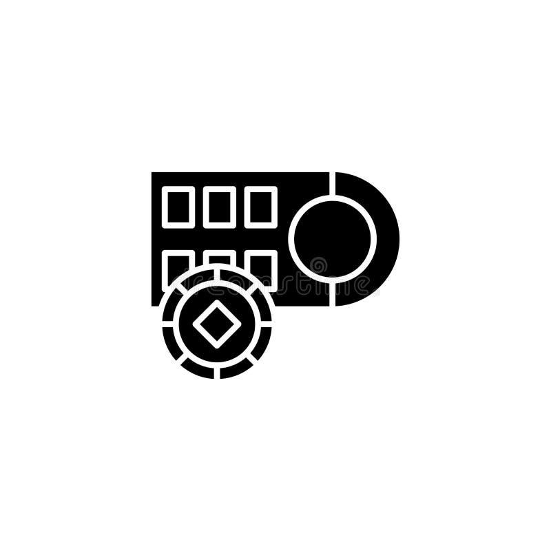 Roulette bets black icon concept. Roulette bets flat vector symbol, sign, illustration. vector illustration
